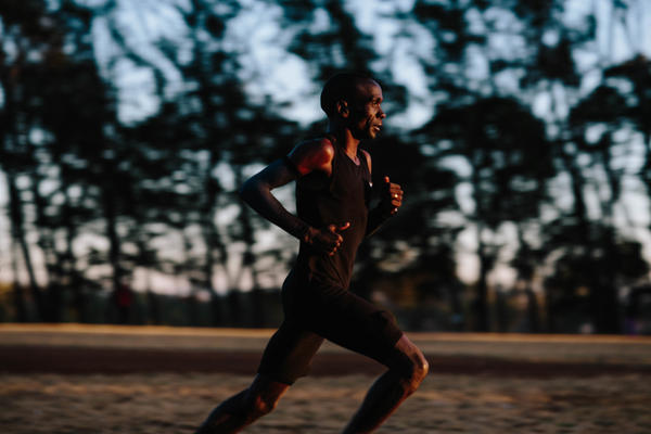 Olympic medalist Eliud Kipchoge runs during a training session in Eldoret, Kenya. He's one of three elite long distance runners who participated in Nike's Breaking2 project — an attempt to run a two-hour marathon.