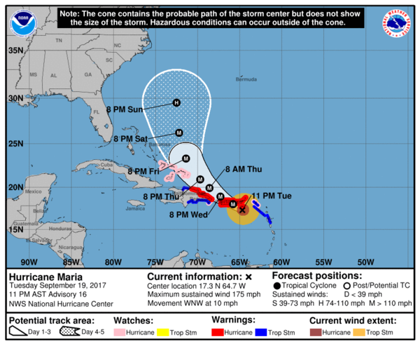 The National Hurricane Center's projection of the path of Hurricane Maria on Tuesday night.