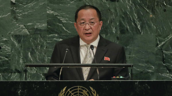 North Korean Foreign Minister Ri Yong Ho speaks during the 72nd session of the United Nations General Assembly on Saturday.