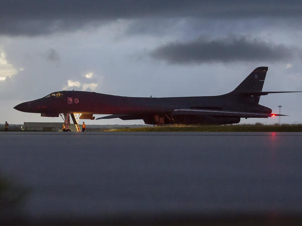 On Saturday, U.S. Air Force B-1B Lancer bombers flew in international airspace over the waters east of North Korea