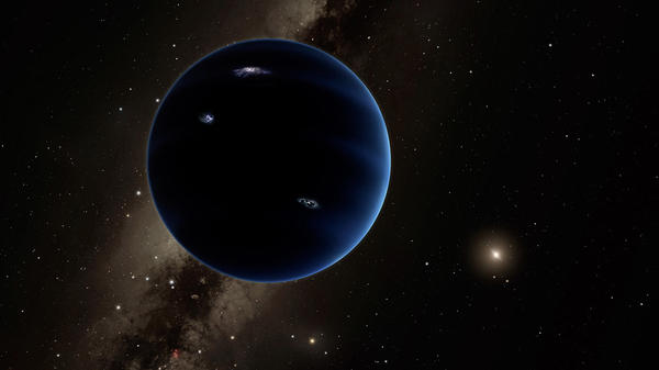An artist's depiction of Planet Nine. The object is thought to be gaseous, similar to Uranus and Neptune. Hypothetical lightning lights up the night side.