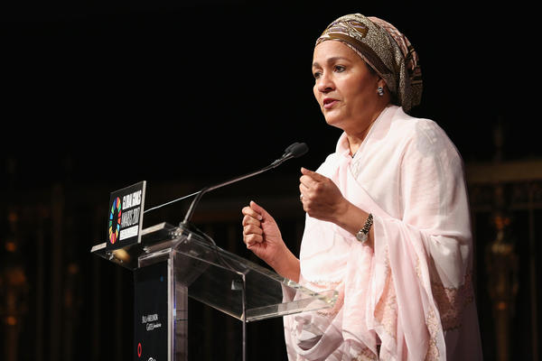 U.N. Deputy Secretary-General Amina J. Mohammed speaks at The Goalkeepers Global Goals Awards last week in New York City. The gala honored individuals who making progress in achieving the U.N.'s Global Goals.