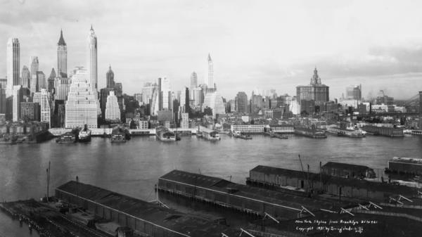 A 1931 photo shows the Manhattan skyline from Brooklyn.