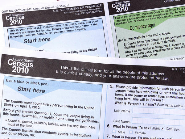Copies of the 2010 Census forms are on display in Phoenix. The U.S. Census Bureau is no longer considering removing a question on sexual orientation from a marketing survey for the 2020 Census.