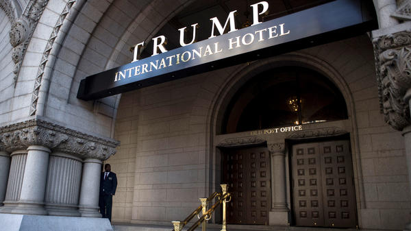 An exterior view of the entrance to the Trump International Hotel at the Old Post Office Building in Washington, D.C.