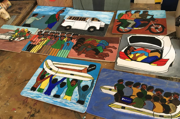 Benjamin Raphael's nine-panel work illustrates his voyage from Nigeria to Italy.
