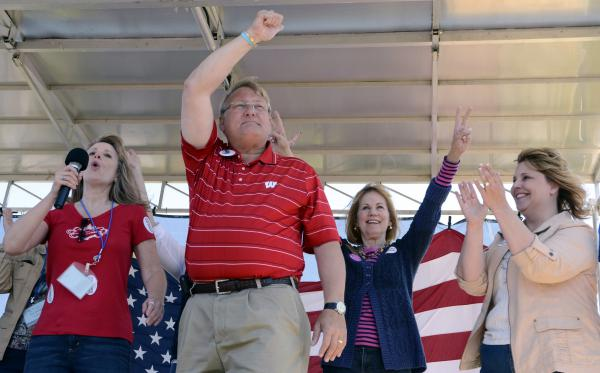 Wisconsin state Sen. Van Wanggaard (center) attends an event at Gorney Park in Caledonia, Wis., in 2012.