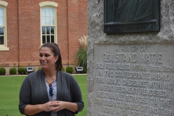 Cherokee Nation historian Catherine Gray discusses the Stand Watie monument at the Cherokee Nation Courthouse in Tahlequah, Okla. (Jacob McCleland/KGOU)