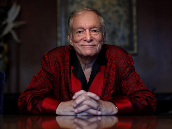 Hugh Hefner poses at the Playboy Mansion in Los Angeles in 2010.