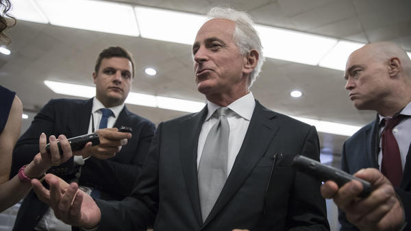 Sen. Bob Corker, R-Tenn., chairman of the Senate Foreign Relations Committee, chats with reporters at the Capitol in Washington, on Tuesday.