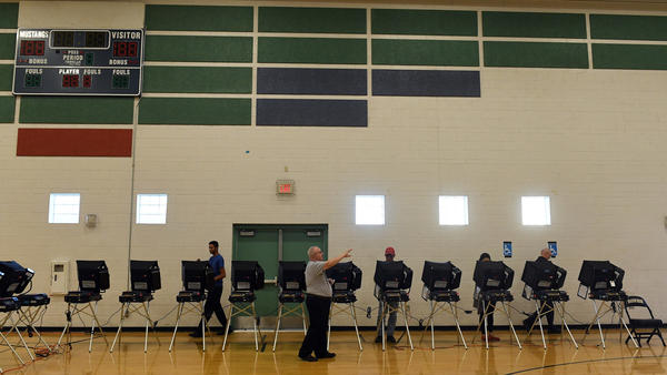 Voters cast their ballots at Shadow Ridge High School last November in Las Vegas.