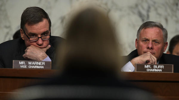Chairman Sen. Richard Burr, R-N.C, (right) and Vice Chairman Sen. Mark Warner, D-Va., listen during a hearing before the Senate Intelligence Committee on June 21 on Capitol Hill.