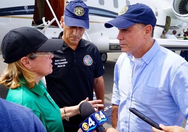 Miami state Rep. Robert Asencio (center) with San Juan Mayor Carmen Yulin Cruz (left) and Miami Beach Mayor Philip Levine during a visit to Puerto Rico this week.