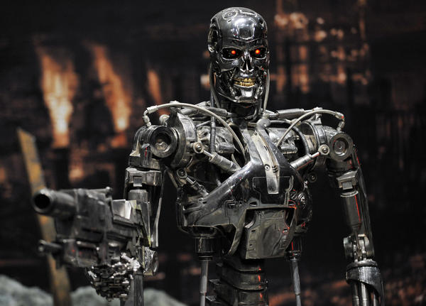 "A full-scale figure of a ""T-800"" terminator robot used in the movie <em>Terminator 2</em>, is displayed at a preview of the Terminator Exhibition in Tokyo in 2009."