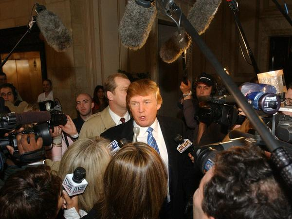 Donald Trump arrives at open auditions for second season of <em>The Apprentice</em> on March 18, 2004, in New York.