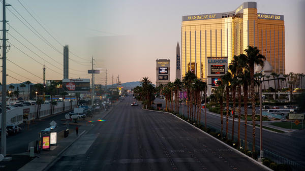 Las Vegas Boulevard remained closed to traffic early Tuesday, near the scene of Sunday night's mass shooting in Las Vegas.
