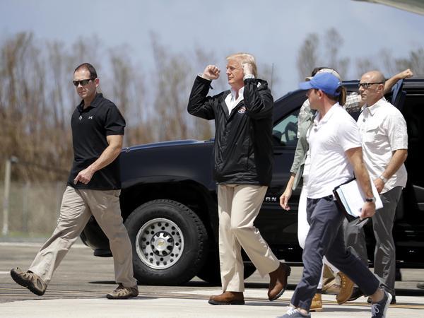 President Trump arrives at the Luis Muñiz Air National Guard Base in San Juan, Puerto Rico, on Tuesday.
