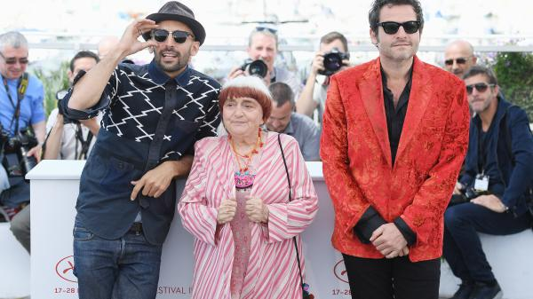 <em>Faces Places</em> co-directors JR and Agnes Varda (along with composer Matthieu Chedid, right) at this year's Cannes film festival.