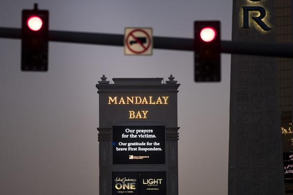 A message of condolences for the victims of Sunday night's mass shooting is displayed outside the Mandalay Bay Resort and Casino, Oct. 3, 2017 in Las Vegas, Nev. (Drew Angerer/Getty Images)