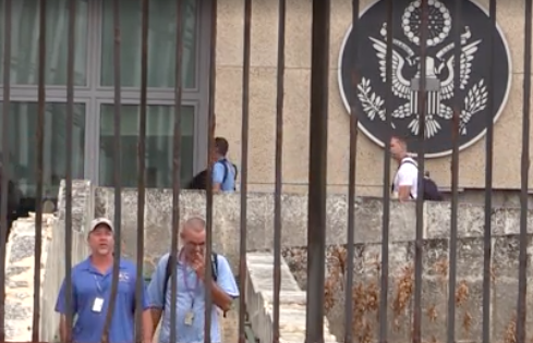 Cubans visiting the U.S. embassy in Havana.