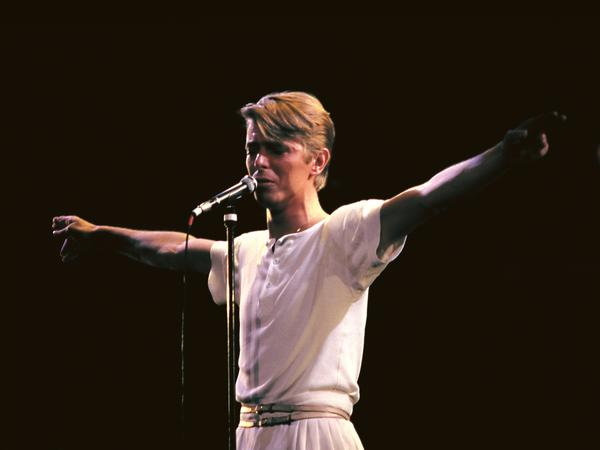 David Bowie performing live in 1978. A new box set collects all of Bowie's albums released between 1977 and 1982.