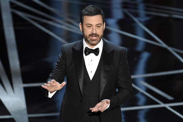 Host Jimmy Kimmel speaks at the Oscars on Sunday, Feb. 26, 2017. (Chris Pizzello/AP)