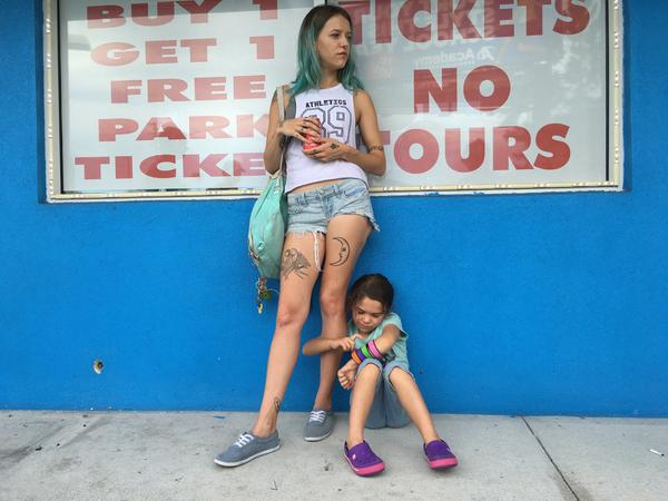 Actress Bria Vinaite plays 20-something single mom Halley in <em>The Florida Project</em>. Her daughter, Moonee, is played by Brooklynn Prince.