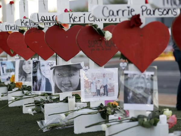 Crosses honor those killed during the recent mass shooting in Las Vegas.