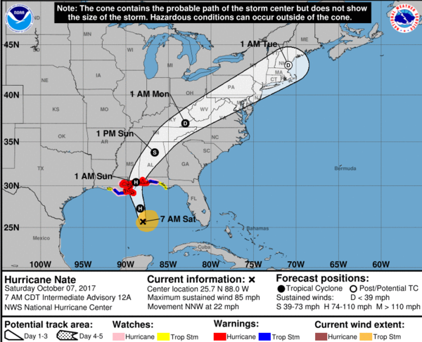 Projected three-day path of Hurricane Nate.