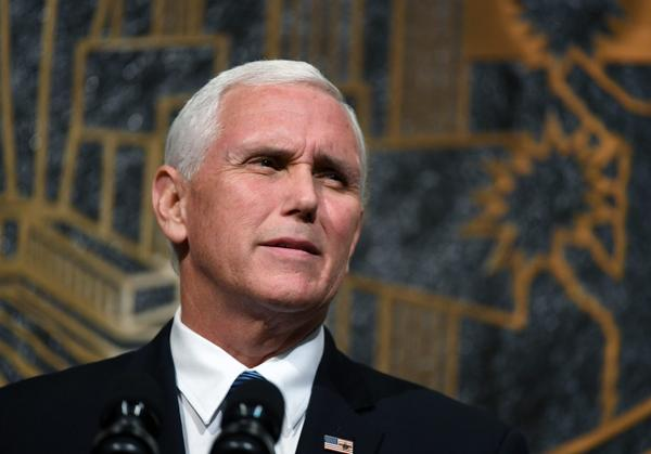 U.S. Vice President Mike Pence walked out of an NFL football game this weekend when players protested during the playing of the national anthem. Pictured: Pence speaks at the culmination of a faith unity walk, held to help the community heal after Sunday's mass shooting, at Las Vegas City Hall on October 7, 2017 in Las Vegas, Nevada. (Ethan Miller/Getty Images)