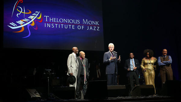 T.S. Monk, left, in 2014, when the Monk Competition included the presentation of an award to President Bill Clinton. Also onstage: Quincy Jones, Herbie Hancock, Dianne Reeves and Kevin Spacey.