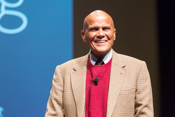 Harry Belafonte speaking at the Wexner Center for the Arts in 2012.