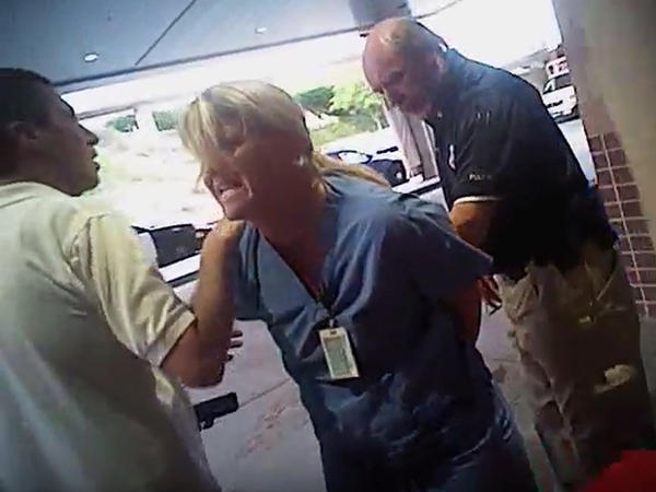 A video frame taken from a police body camera as nurse Alex Wubbels is arrested by a Salt Lake City police officer at University Hospital in Salt Lake City.