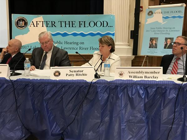 At the Mexico Academy High School, Assemblyman Bob Oaks, State Sen. Tom O'Mara, State Sen. Patty Ritchie and Assemblyman Will Barclay listen to testimony about the flooding along Lake Ontario this year.