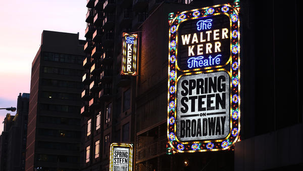 The Bruce Springsteen Marquee for <em>Springsteen on Broadway</em>, which sold out immediately and brought in impressive first-week receipts.