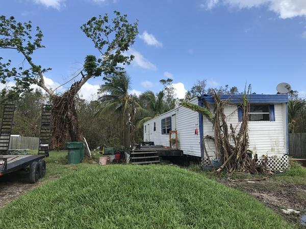 Patty Demere's trailer. She and her husband plan to rebuild a larger home for them and their five kids, after Hurricane Irma destroyed their current home.