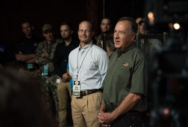Bass Pro Founder Johnny Morris addressing media during a tour of WOW Sept. 19. Bob Ziehmer (left of Morris), is Bass Pro's director of conservation.
