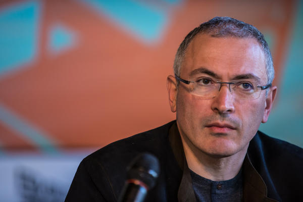 Mikhail Khodorkovsky, the former owner of one of Russia's largest oil companies, holds a public meeting and press conference at Izolyatsia, a non-governmental arts foundation, on April 27, 2014 in Donetsk, Ukraine.