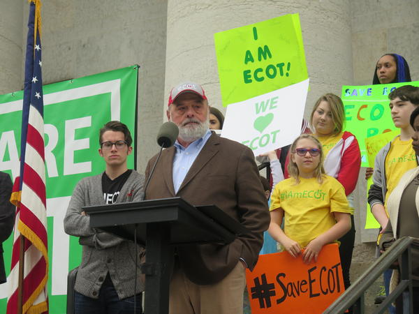 ECOT founder Bill Lager pauses during a speech to the online school's students, staff and supporters at the Statehouse in May.