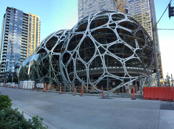 File photo of the Amazon Spheres under construction in front of the company's headquarters in downtown Seattle.