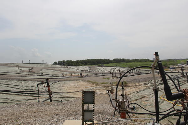 Gas extraction wells on the Bridgeton Landfill in summer 2016.