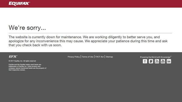The error message displayed Thursday afternoon when visitors attempted to access the particular Equifax webpage.