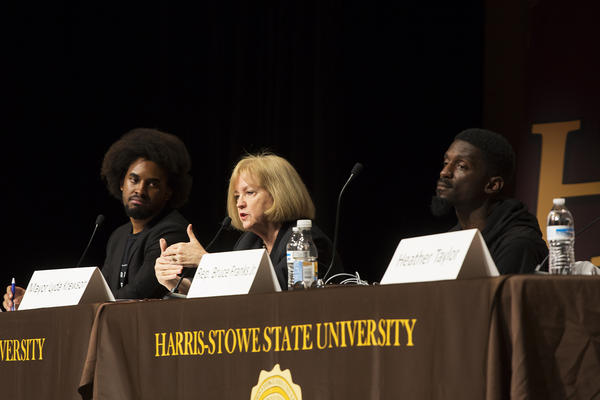 Mayor Lyda Krewson answers questions Wednesday alongside panelists David Dwight (left), of the Ferguson Commission, and Missouri state Rep. Bruce Franks Jr.