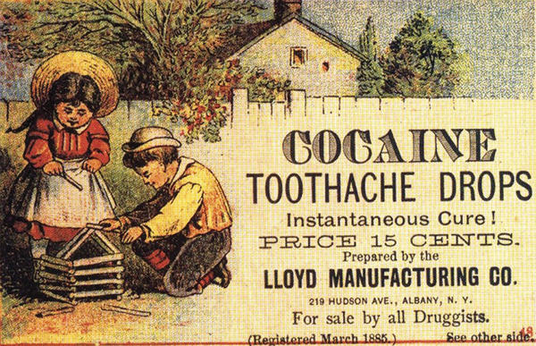 An ad selling cocaine drops for tooth pain, from the book <em>Quackery</em>.