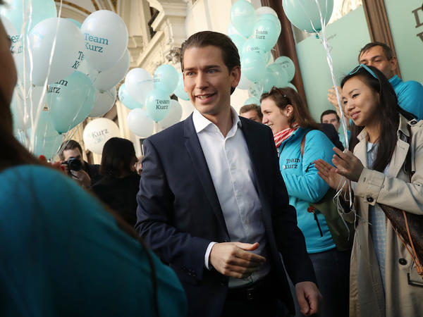Sebastian Kurz, Austria's foreign minister and leader of the conservative Austrian People's Party (OeVP), arrives at his party headquarters on Oct. 13 in Vienna. The OeVP is currently leading in polls.