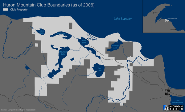 Map showing the land owned by the Huron Mountain Club as of 2006.