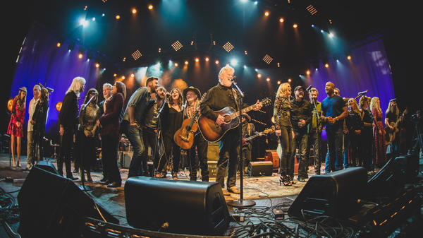 A star studded stage during a tribute to the legendary Kris Kristofferson in an all star concert celebration of his music.