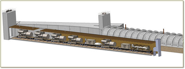 An artist's rendition of a cutaway of Tunnel 1. Large equipment from the PUREX plant that had worn out was driven into the tunnel with a remote locomotive.