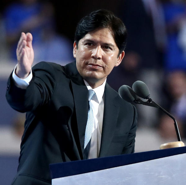 California State Senator Kevin de Leon delivers a speech on the first day of the Democratic National Convention , July 25, 2016 in Philadelphia.