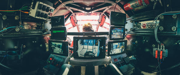 Eagle Prime co-pilot Gui Cavalcanti's view inside the robot is of seven different monitors that help him control the robot's legs. His co-pilot, Matt Oehrlein, sits in front of him during the duel.